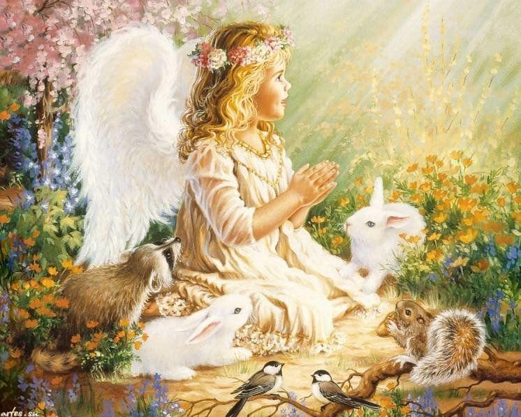 Сумний ангел з білим зайчиком
