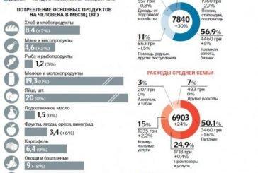 """Українці """"проїдають"""" по 54 гривні на день: на що йдуть гроші (інфографіка)"""