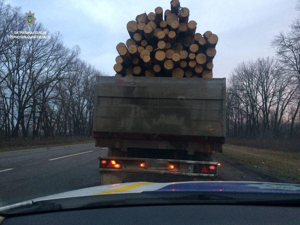 На Тернопільщині патрульні зупинили вантажівку з «нелегальною» деревиною (ФОТО)