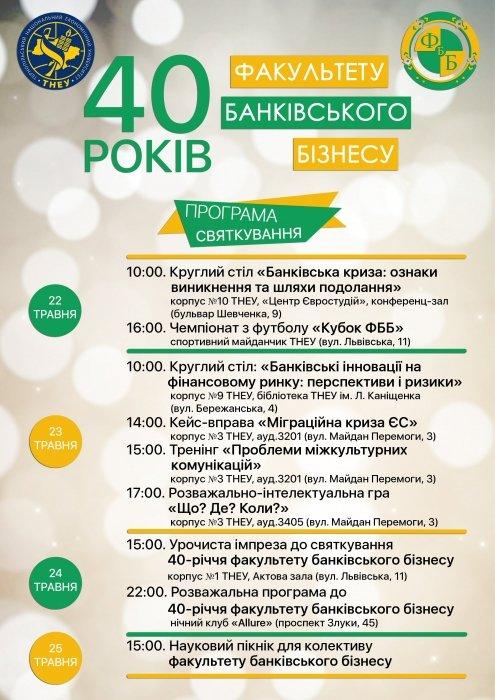 Факультет банківського бізнесу ТНЕУ відзначатиме 40 років (ПРОГРАМА)