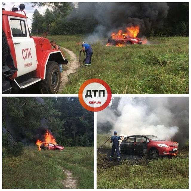 Під Києвом дівчина спалила авто, припаркувавшись на… багатті (ФОТО)