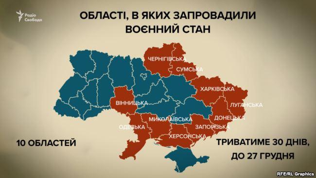 Воєнний стан – у десятьох областях України