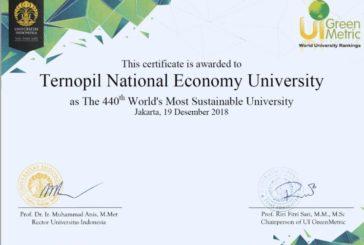Висока позиція ТНЕУ в рейтингу UI GreenMetric (ФОТО)