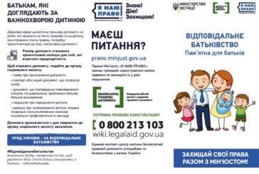 Спільна всеукраїнська правопросвітницька кампанія «Відповідальне батьківство»: що повинні знати жителі Тернопільщини?