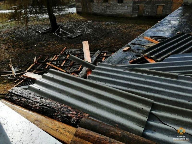 На Тернопільщині сильний вітер пошкодив дах школи (ФОТО)