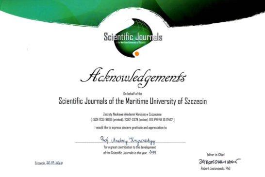 Подяка ректору ТНЕУ - від наукового журналу Морської академії в Щецині (Польща)