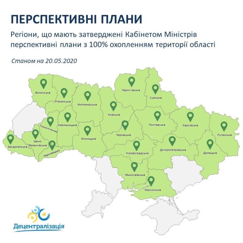 Кабмін затвердив перспективні плани 24 областей України