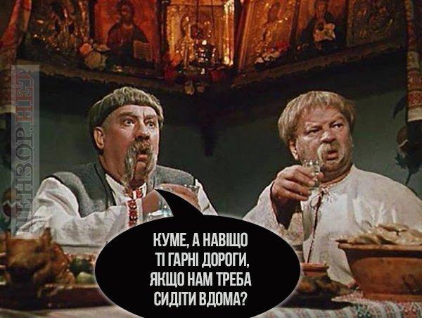 «Куме, нащо ті гарні дороги, як тре сидіти вдома»: як українці жартують про карантин (добірка фотожаб)