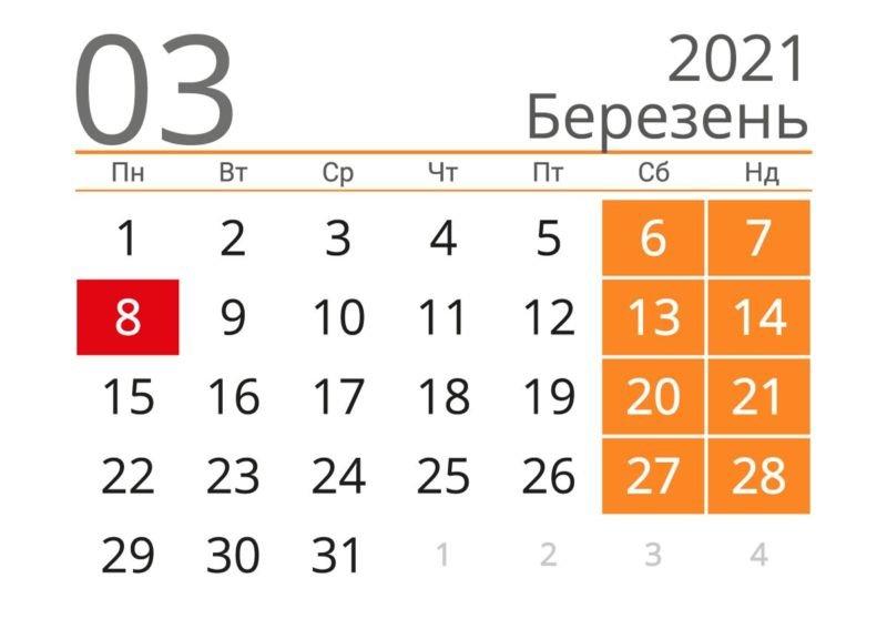 Вихідні в березні 2021: скільки відпочиватимуть українці